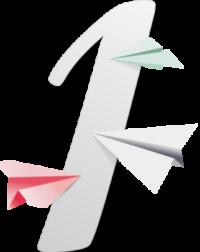 Chiffre 4 gris discret, entouré par des avions en papier de couleurs rose, vert et gris