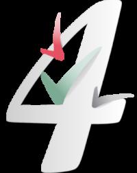 Chiffre 4 gris discret, entouré par des signes validation qui volent tel des oiseaux de couleurs rose, vert et gris