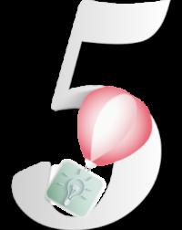 Chiffre 5 gris discret, il illustre la livraison du projet par une montgolfière de papier rose. Elle transporte l'idée en forme d'ampoule dans un carré vert